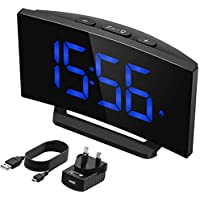 Mpow Digital Clock, Mains Powered with Snooze Function, 1-Minute Easy Setting, 3.75'' Large Display, 3 Adjustable Alarm Sounds (UK Adapter Included), 20.2cm