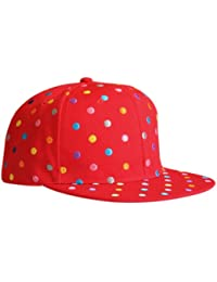 LOCOMO Men Women Rainbow Color Polka Dot Dotted Snapback Cap FFH126BLK