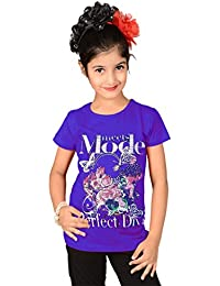 Sweet Angel Begie color round neck top with mode print on chest for girls