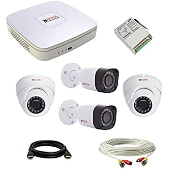 CP Plus set of 2+2 Dome and Bullet CCTV camera with 4 Ch along with accessories.