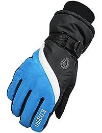 Amurleopard Gants doigt Hommes femmes Cyclisme velo Course Moto epais chaud Bleu Et Noir