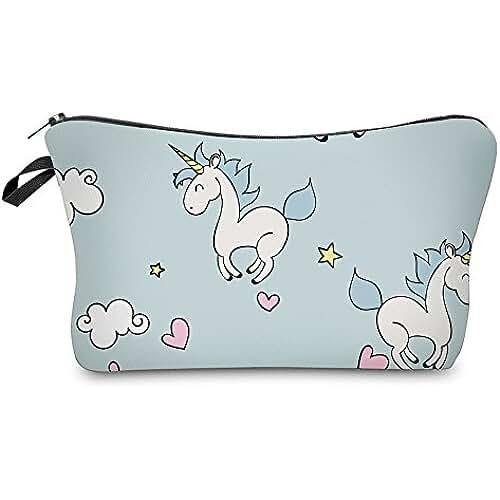 unicornios kawaii IBuyi Bolsas de maquillaje de las mujeres impresión 3D cremallera patrón multicolor Cute Unicorn Collection bolsas de cosméticos para mujeres del viaje señoras ceja lápiz organizador (Blue 2)