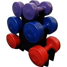 BodyRip - Juego de pesas de vinilo, 12 kg, con soporte, 7 unidades