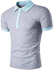 Tefamore Hommes chauds Slim Sports manches courtes Polo Casual T-shirts