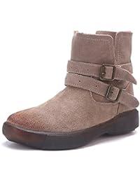 Botas De Mujer Botas De Tacón Bajo Chelsea Botas Señoras Suede Cinturón Hebilla Martin Botas Zapatos