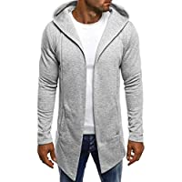 Men Splicing Hooded Solid Trench Coat Jacket Cardigan Long Sleeve Outwear Blouse Hoodie Jacket with hat,Gray,Medium
