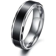 MunkiMix Ancho 6mm Acero Inoxidable Anillo Ring El Tono De Plata Banda Venda Negro San valentin Amor Love Pareja Promesa Compromiso Alianzas Boda Hombre