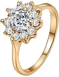 Yoursfs - Anillo Elegante Chapado en Oro Rosa 18k con Circón Diamante de Girasol para mujeres