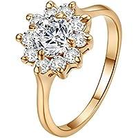 Yoursfs - Anello da donna, bellissimo, finto diamante da 1 carato, motivo: girasole, placcato in oro rosa 18k, ideale per il giorno del matrimonio