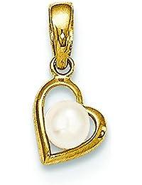 14ct perla cultivada para Corazón Colgante - JewelryWeb