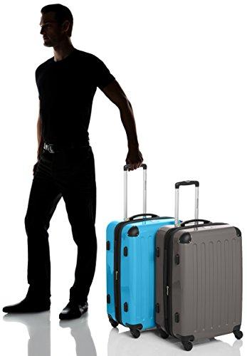 HAUPTSTADTKOFFER - Alex - 2er Koffer-Set Hartschale glänzend, TSA, 65 cm, 74 Liter, Aubergine-Silber Graphit-Cyanblau