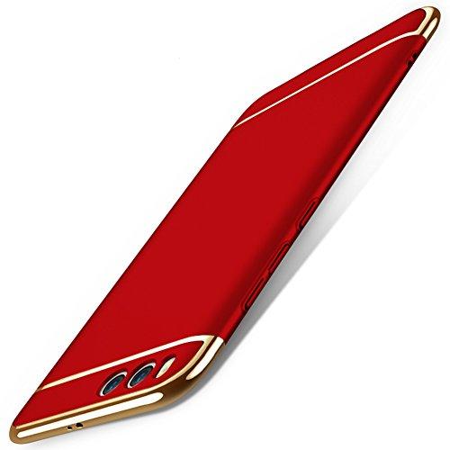 Xiaomi Mi 6 Hülle, MSVII® 3-in-1 Design PC Hülle Schutzhülle Case Und Displayschutzfolie für Xiaomi Mi 6 - Schwarz JY50123 Rot