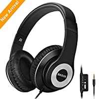 Headphones,SMBOX Lightweight Over-Ear Music Headsets with Mic, Wired Active Noise Cancelling Headphones for Cell Phone/TV/PC/MP3/4-Black