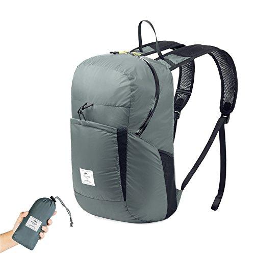 Faltbare Rucksack Ultraleicht Wasserdicht Wandern Daypack von Naturehike, Kleiner Rucksack Dauerhaft Handliche Faltbare Tagesrucksack für Klettern Camping Rucksack Radfahren Reisen (Grau-Upgraded)