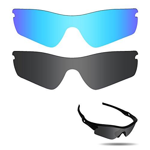 fiskr anti-saltwater Polarisierte Ersatz Gläser für Oakley Radar Path Sonnenbrille 2Paar verpackt, Stealth Black & Ice Blue