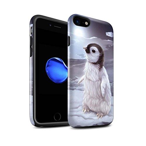 Officiel Elena Dudina Coque / Brillant Robuste Antichoc Etui pour Apple iPhone 8 / Endormi/Tigré Chat Design / Les Animaux Collection Le Voyageur/Manchot