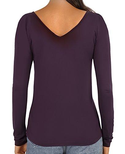 HENCY Damen Langarm T-Shirt V-Ausschnitt Mit Schnürung Vorne Oberteil Tops Bluse Shirt Dunkelrot