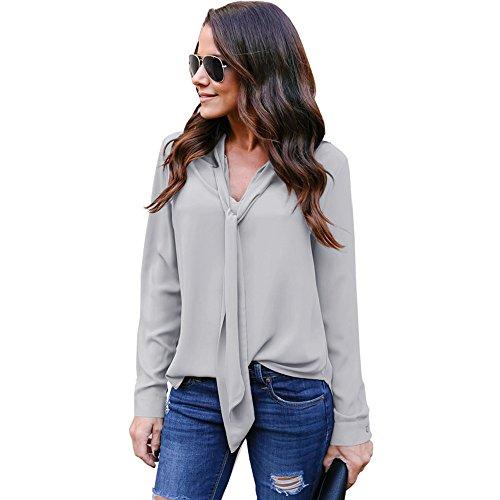 Topgrowth Camicia Donna Chiffon Solido Maniche Lunghe V-Collo Top Camicetta Signora Casuale Cravatta Shirt Grigio