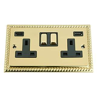 A5 Products USB Socket 2 Gang - Polished Brass Georgian Black Insert Metal Rocker Switch (3100mA)