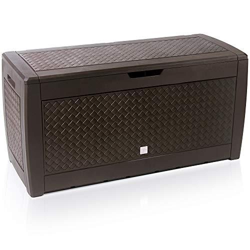Truhe Matuba klappbarer Deckel Haltegriffe Rollen Flechtoptik braun Gartenbox Auflagenbox Kissenbox Farbauswahl