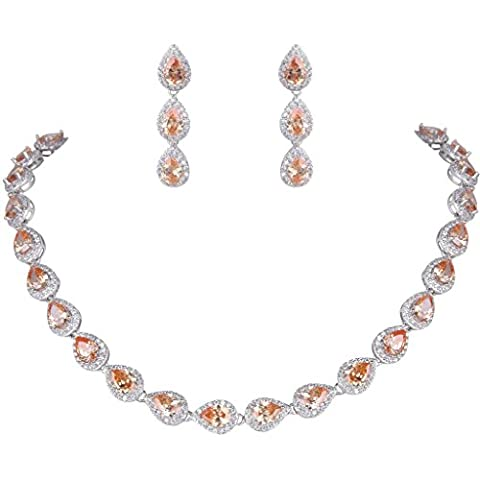 EVER FAITH® Charming Full Prong CZ Teardrop Necklace Earrings Set Silver-Tone Brown N06161-3
