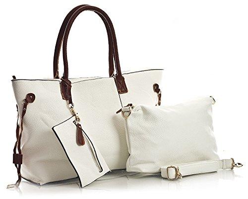 Shopping Bag Donna Di Medie Dimensioni In Bhbs Con Apertura Superiore A Cerniera 3 In 1 Con Spallacci Medio-lunghi E Borsa Trucco Bianca