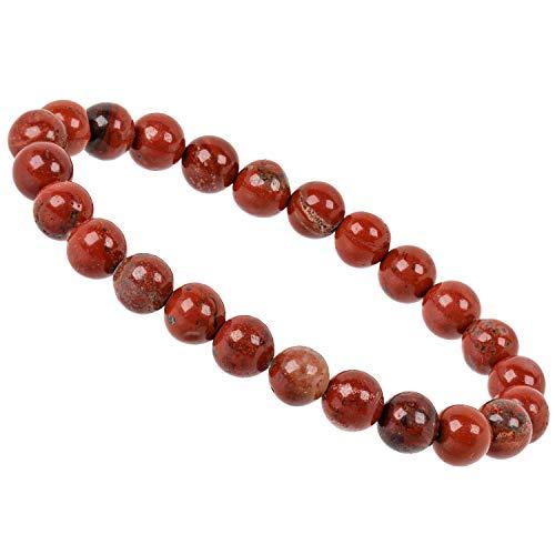 PowerBead Edelstein Perlen Armband mit Jaspis rot Energieband für Damen