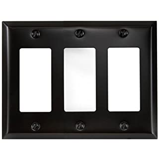 Amerelle 163RRRDB Traditional Steel Wallplate with 3 Rocker, Aged Bronze