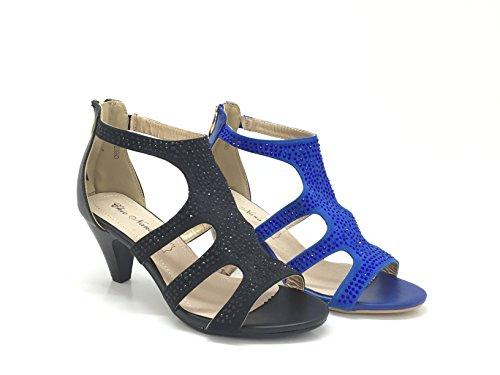 CHIC NANA . Chaussure Femme Mode Escarpin strass diamant fantaisie, Talon de 7 cm, bout ouvert.