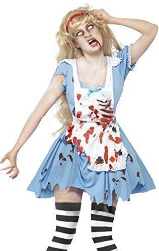 Smiffy's - Costume travestimento da donna, per Halloween, calze incluse, Malice/Alice nel Paese delle Meraviglie zombi