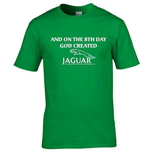 Naughtees Bekleidung - And on the 8th day God created Jaguar T-shirt Kellygrün