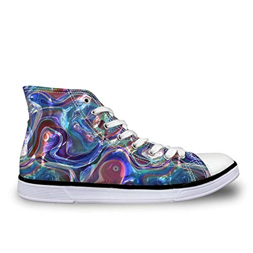 Blue Paisley Women Lace Up Flat Canvas Shoes High Top Sneakers Casual Walking with Blue CC3018AK UK 4