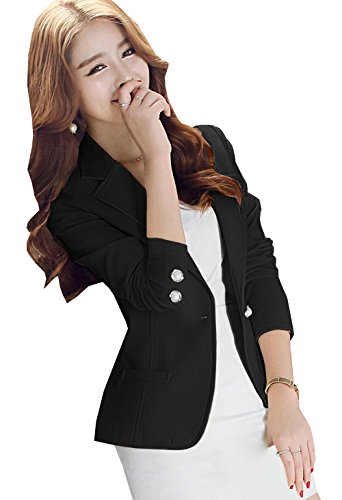 Blansdi Femme Veste de tailleur Blazer Longue Peplum Boutonnage Veste de Tailleur Slim Manches Longues Noir