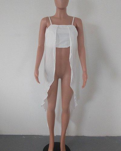 Donna Tinta Unita Senza Maniche Fionda Camicia Gilet Orlo Irregolare T-Shirt Tops Bianco