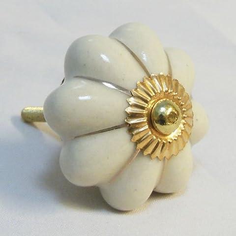 Pomello in ceramica per cassetti e comodini colore bianco con linee oro 40mm x 6 pezzi