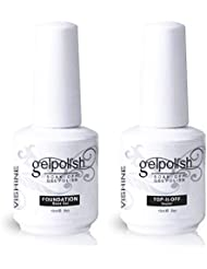 Vishine Vernis à ongles Gel Semi-permanent Base Top Coat Vernis de base et finition Manucure Kit 2 Pcs 15ml
