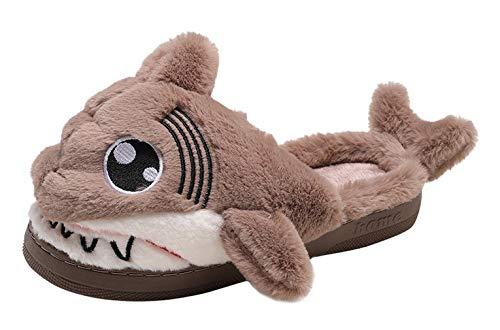 (Y-BOA Plüsch Pantoffeln Cartoon Kostüm Rutschfest Hausschuhe Hai Tierhausschuhe für Weihnachten Karneval Fasching Braun Fußlänge 23.5cm)