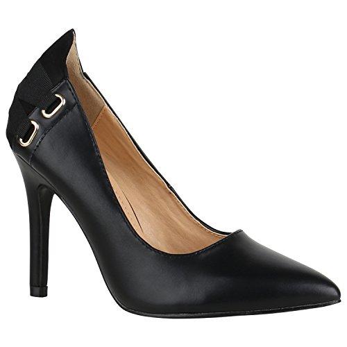 Spitze Damen Schuhe Pumps Lack High Heels Stilettos Klassische 156051 Schwarz Ösen 38 Flandell