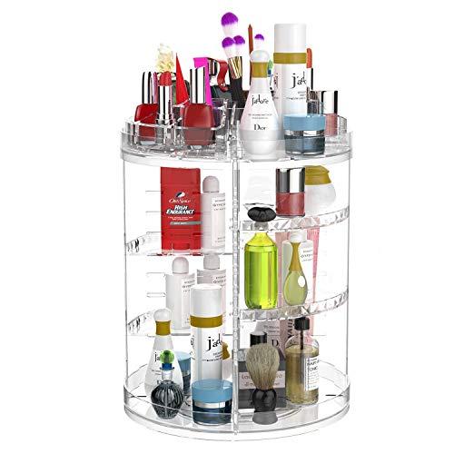 CECOLIC Rangement Maquillage Rotatif de 360 Degrés, Tiroir de Boîte de Rangement Organisateur de Cosmétique Affichage de Caisse, S'adapte Aux Crèmes, Pinceaux, Rouges à Lèvres