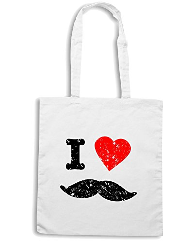 T-Shirtshock - Borsa Shopping T0487 i love baffi Bianco