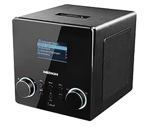 MEDION LIFE MD 87180 Internetradio mit Wlan, DAB+ Radioempfang, USB Steckplatz, Aux, Wecker, Steuerung per App, digital, geeignet für Küche oder Bad, schwarz