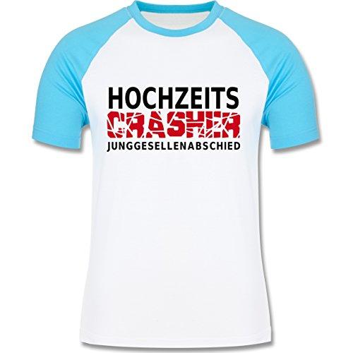 JGA Junggesellenabschied - Hochzeit Crasher - zweifarbiges Baseballshirt für Männer Weiß/Türkis