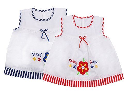 Littly Baby Girl's Casual Wear Cotton Frock Dress, Pack of 2 (Red And Blue, 0-6 Months)