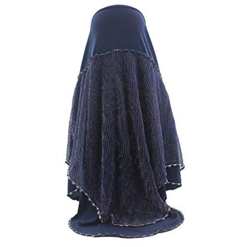 ZEELIY Sommer Frauen-moslemisches weiches Hijab sofortiger bequemer Schal-Hauptabnutzungs-Schal-Turban-Stirnband - Schwarz Krepp Hose Anzug