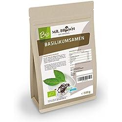 Mr. Brown BIO Basilikum Samen   kbA   Verwendung wie Chia Samen   abgefüllt in Bayern (500 GR)