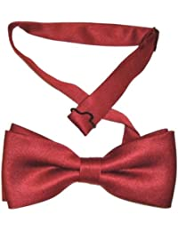 NEW LUXURY PRE TIED ADJUSTABLE SILKY SATIN BURGUNDY BOW TIE **SAME DAY POSTING**