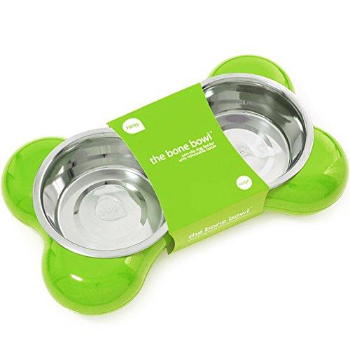 Hing Designs The Bone Bowl - Ciotola per cani a forma di osso, misura grande, colore verde - Bone Doppia Bowl