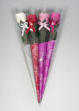 Rose parfumée savon simple dans un coffret cadeau avec ruban et strass–rose, cerise, crème ou (Yankees Strass)
