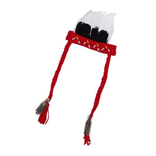 Babybekleidung Hüte & Mützen Longra Fotografie-Tool Baby Neugeborene Feder stricken Hütet Mütze häkeln Foto Prop Outfits (0-3 Monate) (Red)