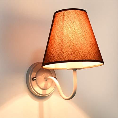 Niceamz LED Wandleuchte, Indoor Warm Stoff Nachttischlampe Hotel Gangbeleuchtung, Eisen Wandlampe Zimmer Schlafzimmer Single Head Wohnzimmer, Korridor, Lampe (Energie Stufe A + +) -